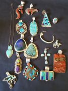Native Sterling Silver Jewelry Lot Turquoise Stone Signed 669g No Scrap