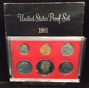 Uncirculated 1981 Clear S Type United States Proof Set Of 5 Coins