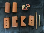 6 Vintage Wooden Building Blocks And A Wooden Truck