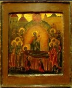 Antique 18c Russian Hand Painted Icon Of Dormition Of Mother Of God