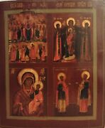 Antique 19c Hand Painted Russian Icon Of Four Parts 52 X 44 Cm.