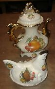 Large Coffee Pot And Hen Egg Crock. Gold Trim