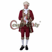 Colonial Victorian Elegant Cosplay Costume 18th Menand039s Rococo Court Suit Burgandy