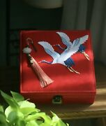 Chinese Cranes Jewelry Box Embroidered Wedding Keepsake Oriental Red Case Ring