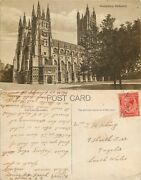 S10695 Cathedral, Canterbury, Kent, Postcard 1920 Stamp Combined Shipping