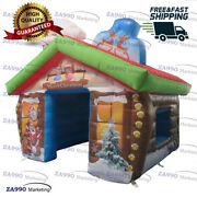 10x10ft Inflatable Christmas House Santa Claus Grotto Tent With Air Blower