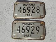 2- 1983 Indiana In Motorcycle Mc License Plates Consecutive Numbers