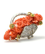 Solid 18k Yellow Gold And 14k White Gold Genuine Diamond Coral And Emerald Brooch