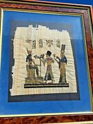 Vintage Egyptian Art Painting King Tut And Cleopatra Papyrus Paper Framed See Thru
