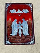 Jesus Mother Mary Joseph Catholic Inlaid Mother Of Pearl Lacquered Wood Wall Art