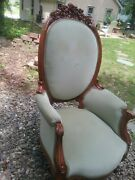 Victorian Hand Carved Green Upholstered Chair 1900and039 S