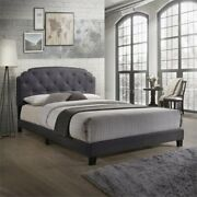 Acme Tradilla Upholstered Queen Panel Bed In Gray