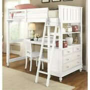 Pemberly Row Twin Loft Bed With Desk In White