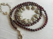 Sterling Silver 925 Cut Out Hearts 4.2 Mm Garnet Bead Necklace  3566m