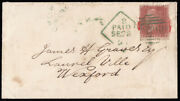 Sg17/ 42 1855 1d. Rose-red Th. Unusually Fixed By Sealing Wax Cancelled By ...