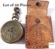 Antique Style Boy Scouts Brass Compass With Leather Case Best For Gift Item