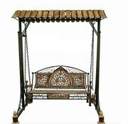 Antique Wooden And Wrought Iron Swing For Home Patio And Garden Floor-standing Style