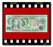 Philippines P-160d 5 Piso 1978 Nd Banknote Unc Red Serial