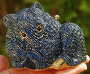 Judith Leiber Magical Hematite Mouse Steel Grey Gold Crystal Bag Purse