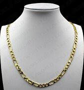 10k Solid Yellow Gold Menand039s Figaro Link Chain Necklace 5.5mm 18 20 22 24 26