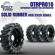 12x16.5 Sentry Tire Skid Steer Solid Tires 4 W/ Wheels For Scat Trak 12-16.5