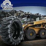 10x16.5 Sentry Tire Skid Steer Solid Tires 4 W/ Wheels 10-16.5 30x10-16