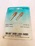 Vtg Walnut Door Lock Knobs By Safety Auto Parts Corp S44-1056 New In Pack