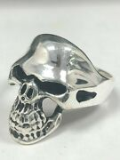 New Solid 925 Silver Mens Skull Ring 14kt Gold Antiqued Longjaw Biker Gothic Usa