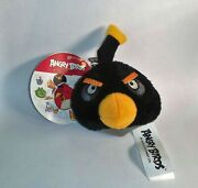 Angry Birds Backpack Clips Keychain Black Bird Plush Toy