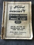 1938 1939 1940 1941 Ford Mercury Cars And Trucks Chassis Parts Price List Catalog