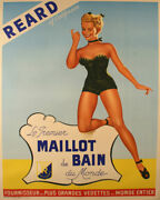 Original Vintage Poster Reard Of California C1950 French Swimsuit Pinup Maillot