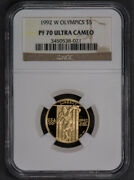 1992-w G5 Xxv Olympiad Gold Commemorative Coin Ngc Proof 70 Uc K962