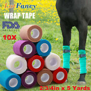 10 Rolls Vet Wrap Tape Self Adhesive Bandages Elastic For Pets Horse Dogs Cats