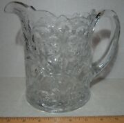 Mckee Glass Rock Crystal Large Water Pitcher Floral Pressed Pres Cut 1908 Intro