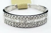 Clearance Sale 10k White Gold Baguette Diamond Band Ring Anniversary Gift Ladies