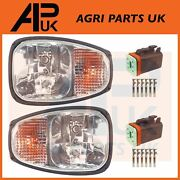 Pair Front Headlights Headlamps Light Lamp And Male Plugs For Jcb Fastrac Tractor