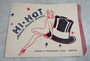 Vintage 1940and039s 50and039s Hi Hat Americaand039s Smartest Bbq Boston Sexy Restaurant Risque