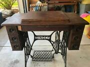 Antique 1900and039s Singer Treadle 7 Drawer Sewing Machine Oak