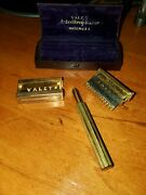 Early 1900s Valet Auto Strop Safety Razor Kit With Original Case And Razor Blades