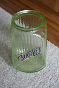 Green Depression Glass Ribbed Hoosier Canister Jar Sugar Cookie Coffee Canister