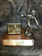 Vintage Bowling Trophy With Alarm Clock By A Endura. From The 1940s. It Works