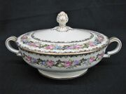 1940's Noritake Lady Rose Hand-painted China 8 1/4 Round Covered Vegetable Mint