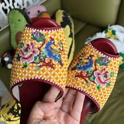 Peranakan Straits Chinese Open Toe Beaded Shoes Wedge Handmade Leather Wine Red