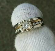 Natural 6.41mm1.04 Ct Round1.37cttw Diamond Platinum -18ky Gold-channel Ring