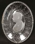 Theodore Roosevelt Square Deal Eapg Pressed Colorless Glass Oval Plate