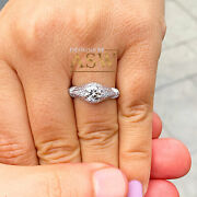 14k Solid White Gold Round Cut Natural Diamond Engagement Ring Antique 1.45ctw