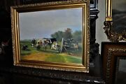 Good Quality Old Landscape With Farm Animals Oil Painting