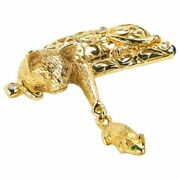Estate Vintage Whimsical Cat And Mouse Gold Brooch Pin Fine Jewelry