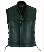 Menand039s Soa Motorcycle Biker Black Leather Vest Anarchy Club Concealed Carry