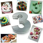 Small Number Three Birthday Wedding Anniversary Cake Tins / Pans / Mould
